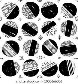 Vector seamless pattern with ethnic tribal boho trendy doodle circle ornaments. Can be printed and used as wrapping paper, wallpaper, textile, fabric, etc.