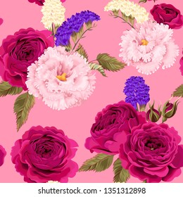 Vector seamless pattern with eustoma and roses