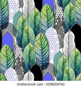 Vector seamless pattern of exotic heliconia leaves drawn in line graphic and watercolor artistic techniques