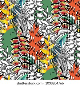 Vector seamless pattern of exotic heliconia flowers drawn in line graphic and watercolor artistic techniques