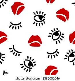 Vector seamless pattern for fabric, wallpaper. For women's underwear, sleepwear. Baby girl fashion collection. Hand draw lips eyes and lashes elements. Sweet style. Scrapbooking. Background texture.