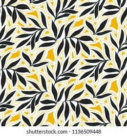 Vector seamless pattern with fall leaves. Elegant modern autumn background. Bold vintage print with leaves on yellow background for autumn fall fashion. Botanical retro texture with leaves and foliage