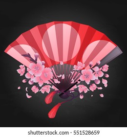 Vector seamless pattern with fans in red, pink, blue, silver and golden colors. Asian traditional design