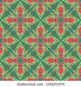 vector seamless pattern with fantasy flowers natural wallpaper floral decoration curl illustration with Thai traditional style with red and green tone