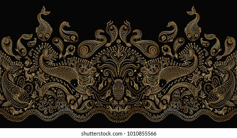 Vector seamless pattern. Fantasy mermaid, octopus, fish, sea animals golden contour thin line drawing with ornaments on a black background. Embroidery border, wallpaper fringe, textile print, wrapping