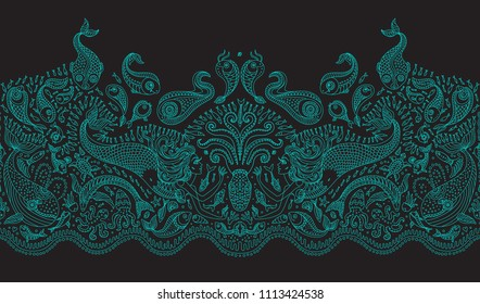 Vector seamless pattern. Fantasy mermaid, octopus, fish, sea animals thin turquoise contour line ornate drawing on a dark black background. Embroidery border, wallpaper, textile fringe print, wrapping