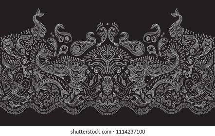 Vector Seamless Pattern Fantasy Mermaid Octopus Fish Sea Animals Thin Contour Line