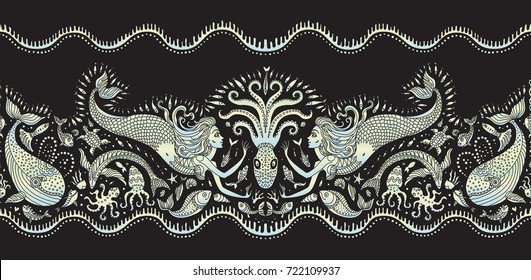 Vector seamless pattern. Fantasy mermaid, octopus, fish, sea animals colorful pearl silhouette with ornaments on a black background. Batik border, wallpaper fringe, textile print, wrapping paper