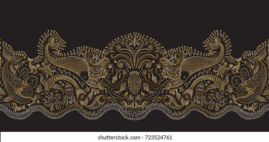 Vector seamless pattern. Fantasy mermaid, octopus, fish, sea animals golden contour thin line drawing with ornaments on a black background. Embroidery border, wallpaper, textile print, wrapping paper
