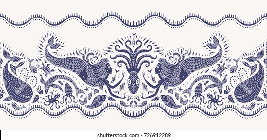 Vector seamless pattern. Fantasy mermaid, octopus, fish, sea animals dark indigo blue silhouette with ornaments on a beige background. Batik border, wallpaper fringe, textile print, wrapping paper