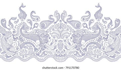 Vector seamless pattern. Fantasy mermaid, octopus, fish, sea animals blue contour thin line drawing with ornaments on a white background. Embroidery border, wallpaper, textile print, wrapping paper