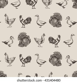 vector seamless pattern with farm animals