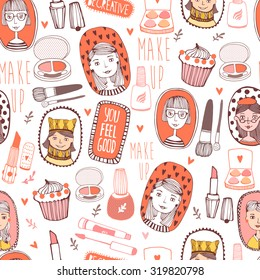 Vector seamless pattern of fashionable girl. Vector illustration of hand drawn make-up stuff. Fashion Girl design.