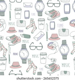 Vector seamless pattern of fashionable men's accessories. vector illustration backdrop Vector template for design.