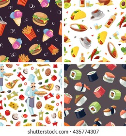 vector seamless pattern with fast food illustrations set. European, Mexican, Itallian and japan food.