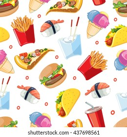 vector seamless pattern with fast food icon set. Burger, plastic glass with cold drink, French fries, tacos, pizza, sushi. Pictures isolate on white background