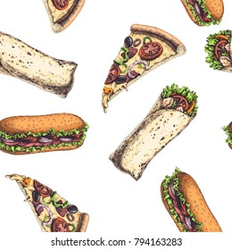 Vector seamless pattern with fast food. Vintage color illustration of pizza slice, wrap and sandwich isolated on white. Hand drawn texture in engraving style