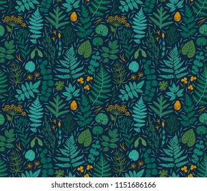 Vector seamless pattern with fern leaf, equisetum, clover leaves and forest plant. Beautiful botanical repeated texture. Floral background with leaves, branches, flowers and seeds. Natural backdrop.