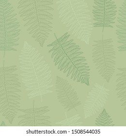 Vector seamless pattern with fern leaf. Leaves of the fern. Pattern for the fabric. Fern print. Trend forest pattern.