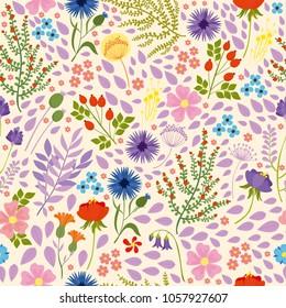 vector seamless pattern. field, forest, garden flowers. spring, summer background