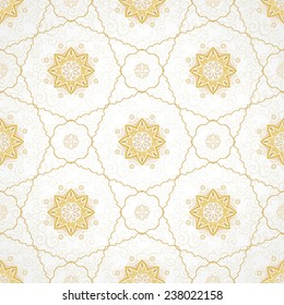 Vector seamless pattern, filigree background. Vintage element for design in Eastern style. Ornamental golden tracery. Ornate floral decor for wallpaper. Endless texture. Delicate pattern fill.