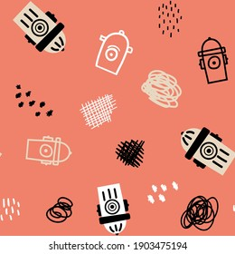 Vector seamless pattern with fire hydrants and abstractions on pink background. Cute illustration for fabric, textile, background, wallpaper
