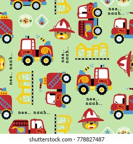 vector seamless pattern with firefighter cartoon