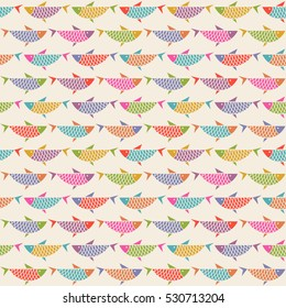 Vector seamless pattern with fish. Original decorative color illustration for print, web