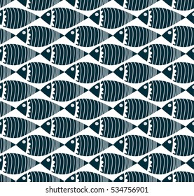 Vector seamless pattern with fishes, fully editable eps 8 file with clipping masks and pattern in swatch menu