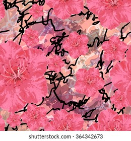 Vector seamless pattern with five-petal flowers on varicolored background. Ornament made from watercolor hand painted elements.