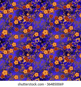 Vector seamless pattern with five-petal flowers on varicolored (mostly blue) background.