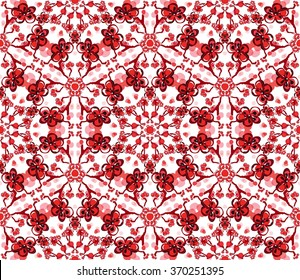 Vector seamless pattern with five-petal red plum flowers and buds with black contours and black branches on white background. Ornament made from ink hand drawn elements.