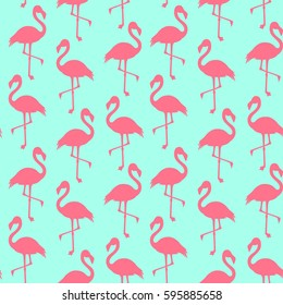 Vector seamless pattern with flamingo