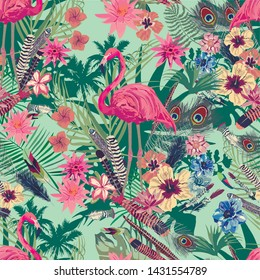 Vector seamless pattern with flamingo,  leaves, flowers.