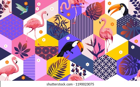 Vector seamless pattern with flamingos,Toucans,Hummingbird and tropical palm leaves. Exotic Hawaii art background is tropical trendy. Design for fabric, textile, wrapping paper and other decoration