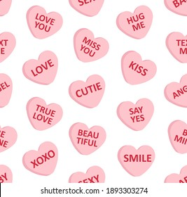 Vector seamless pattern of flat cartoon pink Valentine's sweet candy with love text isolated on white background