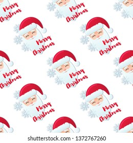 Vector seamless pattern with flat illustration of slant Santa Claus face with snowflakes and red text Merry Christmas isolated on white background.