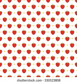 Vector seamless pattern with flat strawberries and yellow dots.