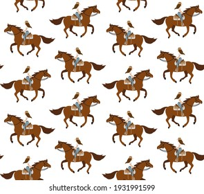 Vector seamless pattern of flat western cowboy girl woman riding running horse isolated on white background