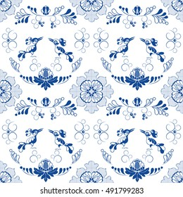 Vector seamless pattern with floral ornament and birds. Blue on white. Porcelain, tiles, ceramic, delft page fill etc.