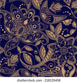 Vector seamless pattern. Floral ornamental background
