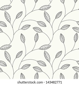 Vector seamless pattern. Floral stylish background with graphic leaves