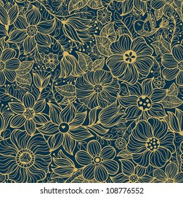 Vector seamless pattern with flower and birds.