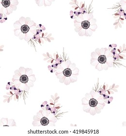 Vector seamless pattern with flower bouquet. Anemone, branches and berries. Nature seamless pattern