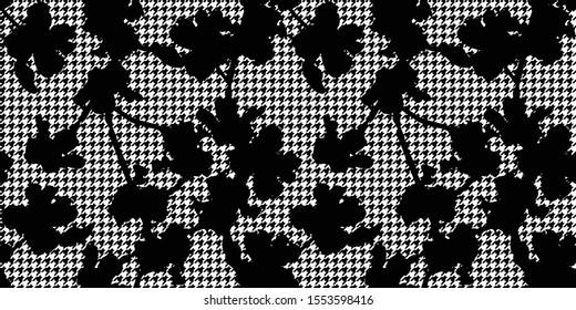 Patrón veloz. Textura de las flores con fondo de gotas, Vector sin fisuras en blanco y negro. Elegante fondo floral para estampas de moda, decoración casera o papelería