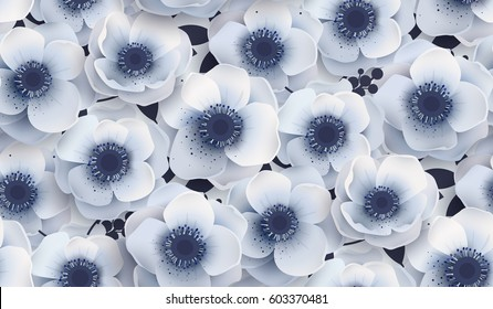 Vector seamless pattern with flowers anemones. It can be used as print on fabric, linen, wedding, the packing paper background.