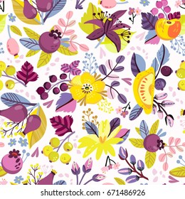 Vector seamless pattern of flowers and berries. Bright floral ornament.