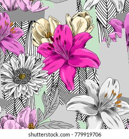 Vector seamless pattern with flowers and brush stroke. Lily, gerbera and tulip 3