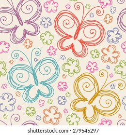 Vector seamless pattern with flowers  and butterflies of doodles. Floral background in hand drawn childish style. Ornamental decorative illustration for print, web