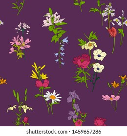 vector seamless pattern with with flowers, floral background, hand drawn art illustration
